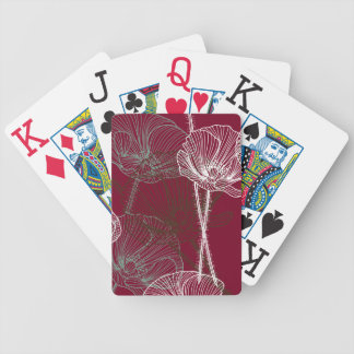 Papoilas tiradas mão no vermelho jogos de baralhos