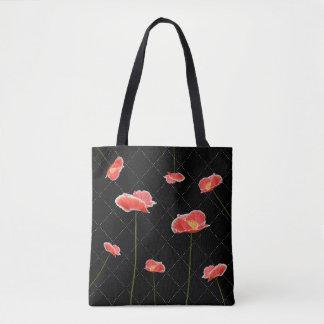 Papoilas vermelhas em simples mas bonito pretos bolsa tote
