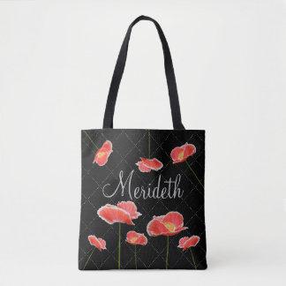 Papoilas vermelhas no preto personalizado bolsa tote