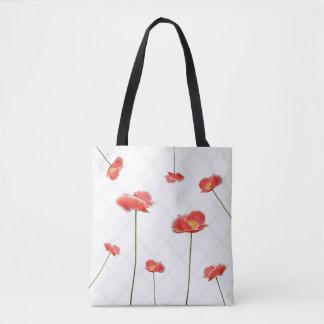 Papoilas vermelhas simples mas bonitas bolsa tote