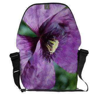 Papoilas violetas/papoilas roxas bolsas mensageiro