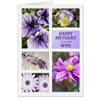 Para a esposa, cartão de aniversário floral das ma