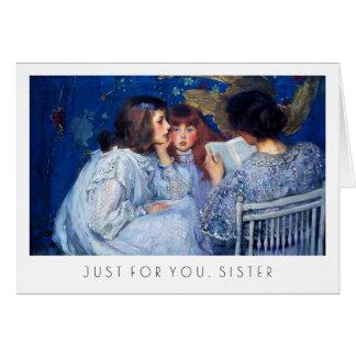Para a irmã em cartões das belas artes do dia das