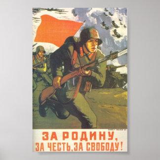 Para a pátria, honra, poster da liberdade WWII