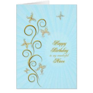 Para a sobrinha, aniversário com borboletas dourad cartões