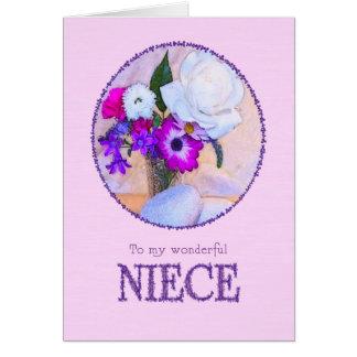 Para a sobrinha, aniversário com uma pintura da cartão comemorativo