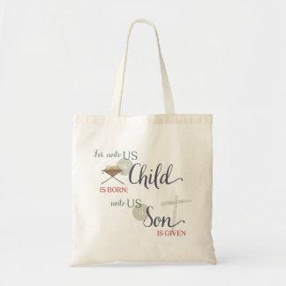 Para até nós uma criança é nascida sacola tote budget