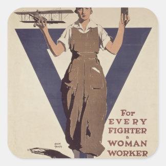 Para cada lutador um trabalhador de mulher adesivos quadrados