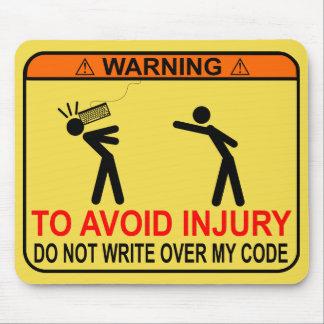 Para evitar ferimento, não escreva sobre meu mouse pad