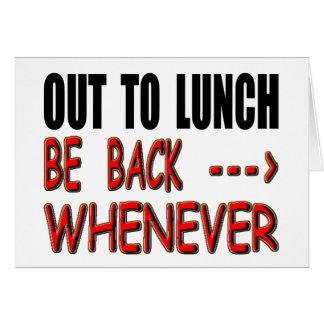 Para fora ao almoço cartão comemorativo
