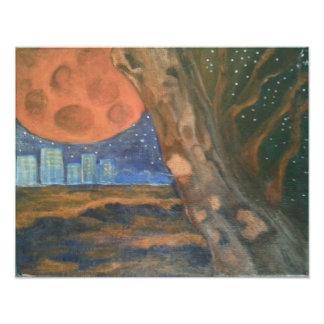 """""""Para fora lá"""" lua alaranjada do ~, céu estrelado,"""