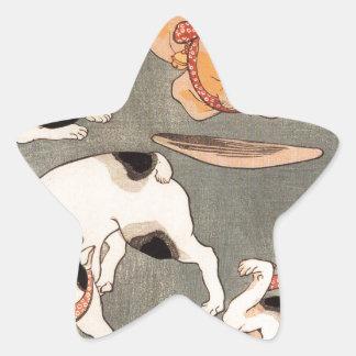 Para gatos em poses diferentes por Utagawa Adesito Estrela