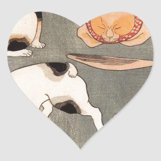Para gatos em poses diferentes por Utagawa Adesivo Coração
