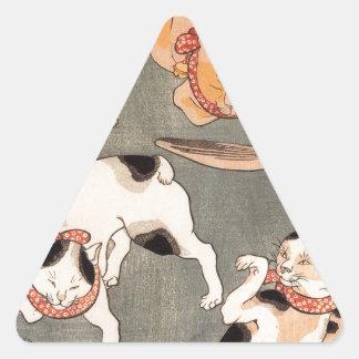 Para gatos em poses diferentes por Utagawa Adesivo Triangular