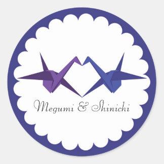 Para Katy: Origami Cranes a etiqueta do envelope