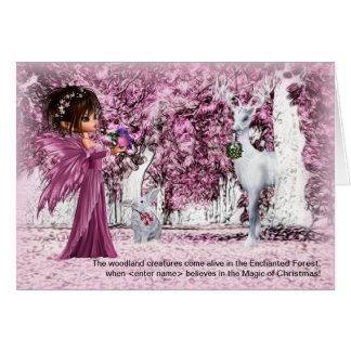 para meninas o Natal Enchanted a floresta com seu Cartão Comemorativo