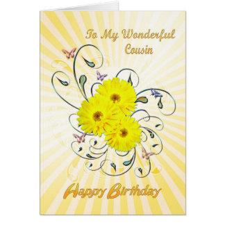 Para o cartão de aniversário do primo com flores