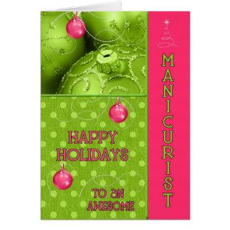 Para o Natal cor-de-rosa e verde do manicuro Cartão Comemorativo