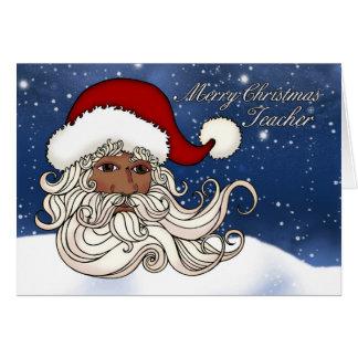 Para o professor, papai noel preto com feliz cartão comemorativo