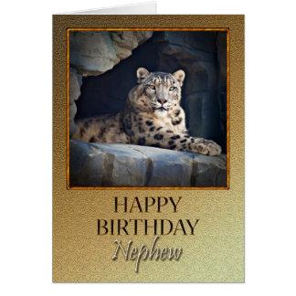 Para o sobrinho um o aniversário com um leopardo cartão comemorativo
