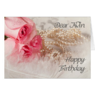 Para rosas e pérolas do feliz aniversario gêmeo, cartao