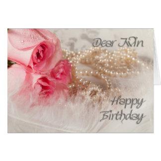 Para rosas e pérolas do feliz aniversario gêmeo, cartão comemorativo