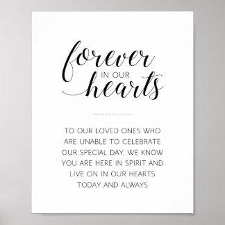Para sempre em nossos corações que Wedding o sinal Poster