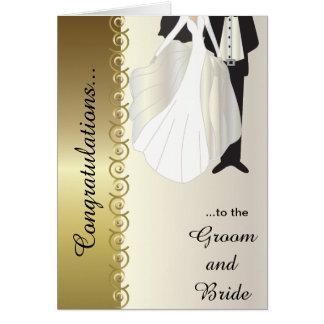 Parabéns ao cartão de casamento do noivo & da