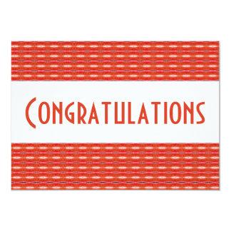 Parabéns brancos vermelhos convite 12.7 x 17.78cm