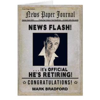 Parabéns da APOSENTADORIA (homem) - jornal da Cartão Comemorativo