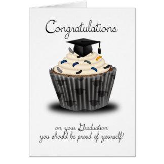 Parabéns da graduação do cupcake cartão comemorativo