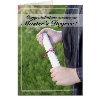 Parabéns da graduação do grau de mestre cartão comemorativo