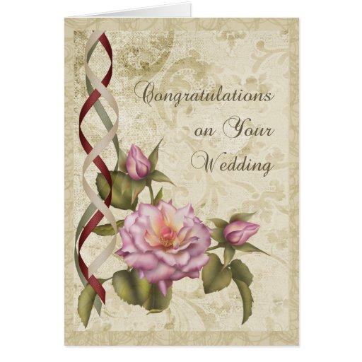 Parabéns do casamento vintage cartoes
