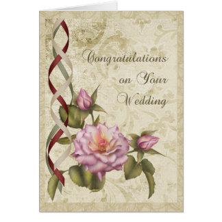 Parabéns do casamento vintage cartão comemorativo