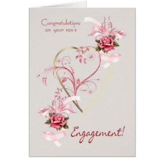 Parabéns em rosas do noivado do seu filho e cartão comemorativo