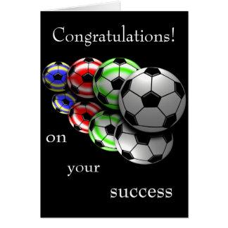 Parabéns em seu cartão do futebol do sucesso