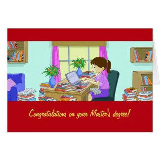 Parabéns em seu cartão do grau de mestre