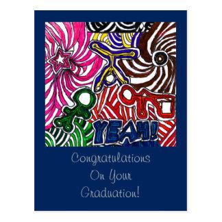 Parabéns em sua graduação com YEAH arte Cartão Postal