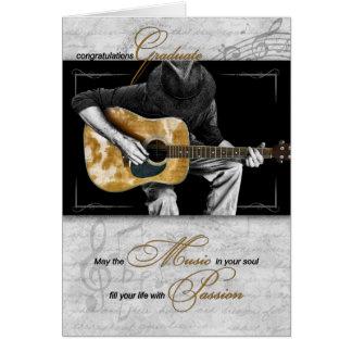 Parabéns graduados da música - guitarrista cartão comemorativo