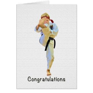 Parabéns, karaté que retrocede o cartão do