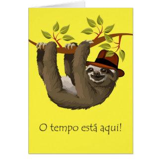 Parabéns na aposentadoria no português, preguiça cartão comemorativo