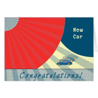 Parabéns no carro novo, cartão contemporâneo