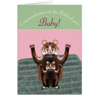 Parabéns no nascimento do bebê, hamster bonitos cartão comemorativo