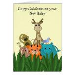 Parabéns novos animais do bebê do jardim zoológico cartão