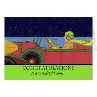 Parabéns para o primo no carro novo, vintage cartão comemorativo