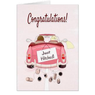 Parabéns para Wedding com casal no carro Cartão Comemorativo