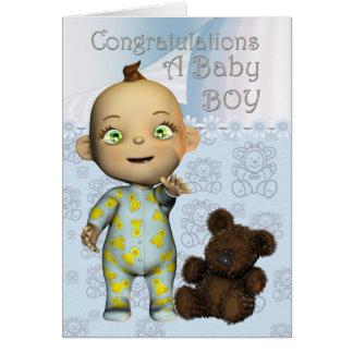Parabéns um cartão do bebé com desenhos animados