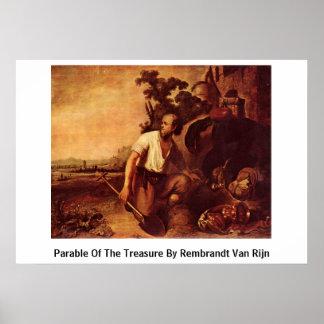 Parábola do tesouro por Rembrandt Van Rijn Pôsteres