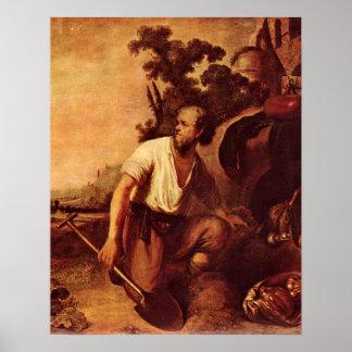 Parábola do tesouro por Rembrandt Van Rijn Poster