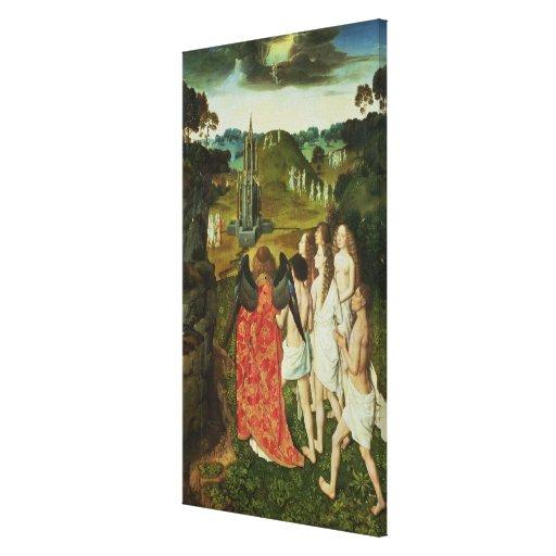 Paraíso da fonte simbólica impressão de canvas envolvida